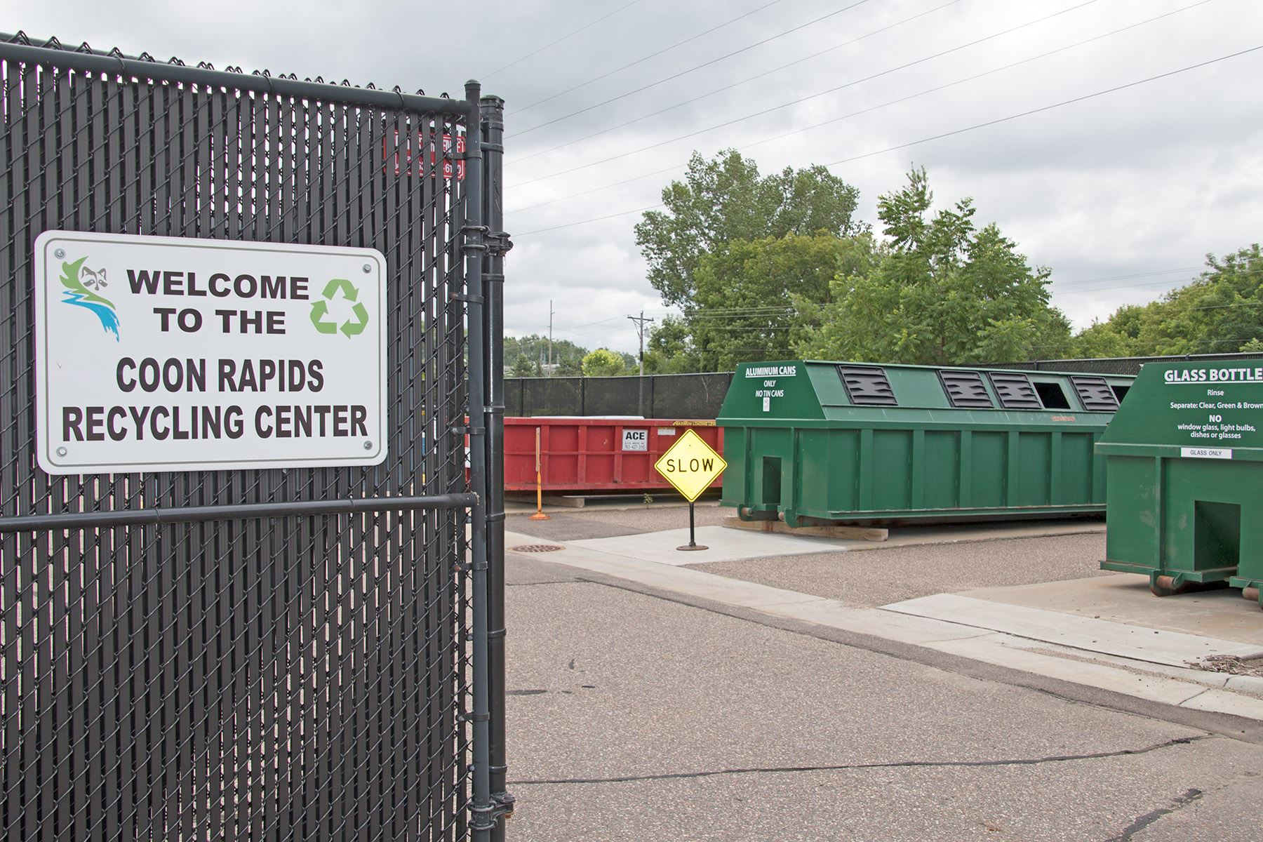 Coon Rapids Recycling Center and Welcome Sign