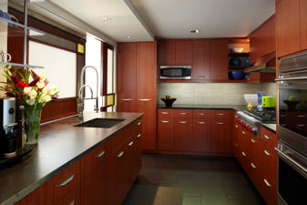 Kitchen with dark cabinets