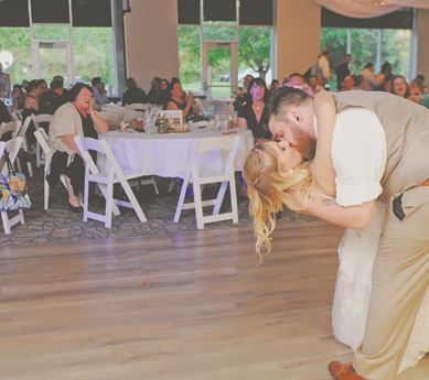 Bridge and Groom dancing at Reception